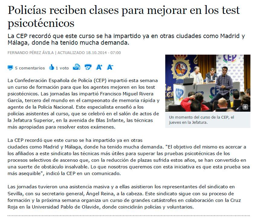 Míchel Rivera en Diario de Sevilla