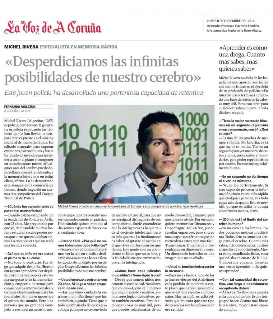 Míchel Rivera en La Voz de A Coruña