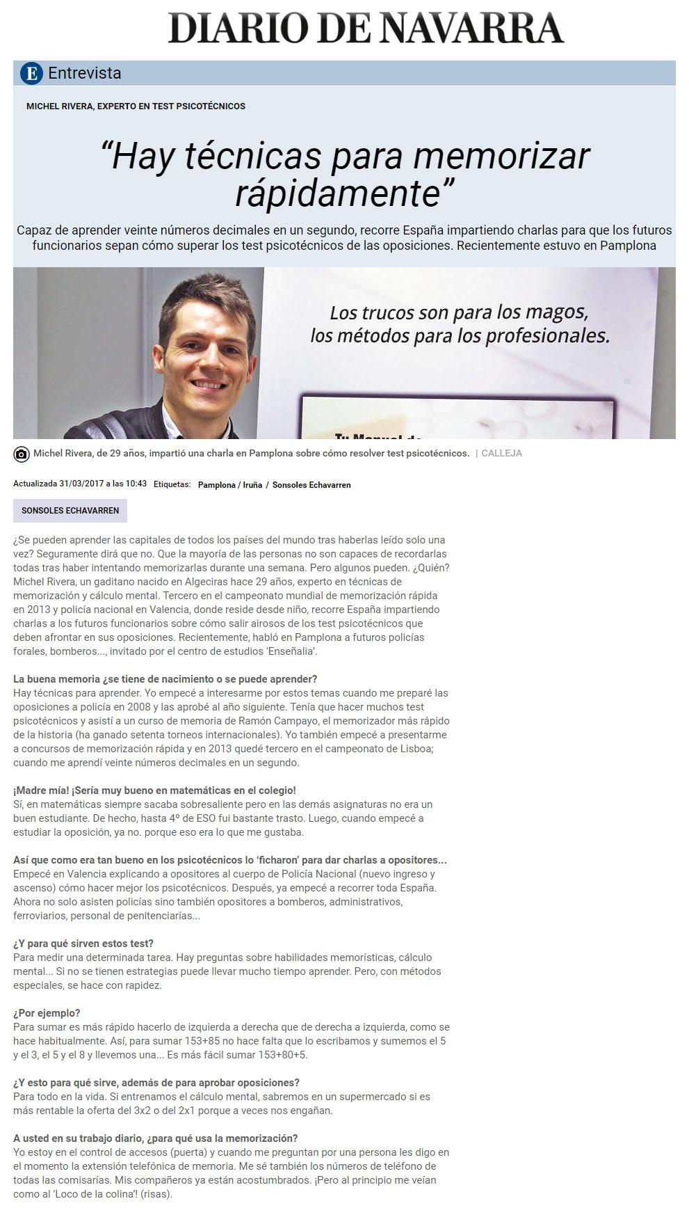 Míchel Rivera en el Diario de Navarra